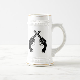 Crossed Antique Revolvers // Vintage Guns in Black Beer Stein