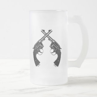 Crossed Antique Revolvers // Vintage Guns in Black Frosted Glass Beer Mug