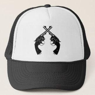 Crossed Antique Revolvers // Vintage Guns in Black Trucker Hat