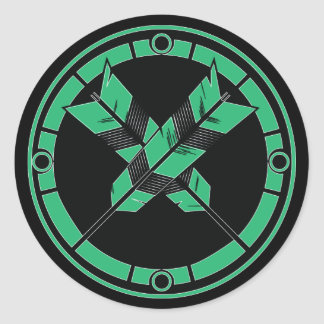 Crossed Arrows Classic Round Sticker