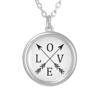 Crossed Arrows Love Design Silver Plated Necklace
