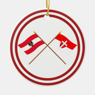 Crossed Austria and Wien flags Ceramic Ornament