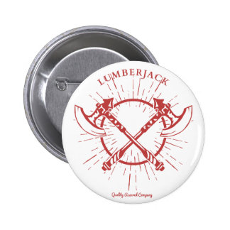 Crossed Axes Lumberjack Graphic Tee 2 Inch Round Button
