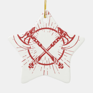 Crossed Axes Lumberjack Graphic Tee Ceramic Star Ornament
