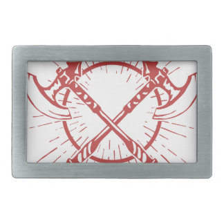 Crossed Axes Lumberjack Graphic Tee Rectangular Belt Buckles