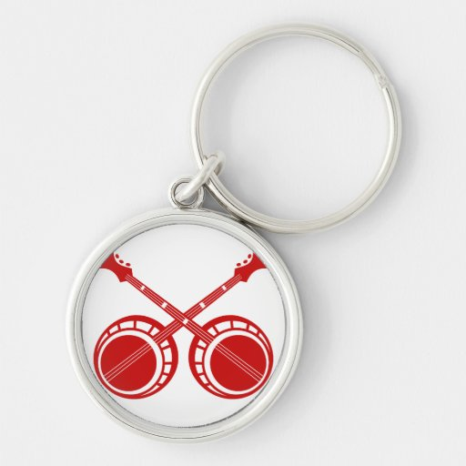 crossed banjos red key chain