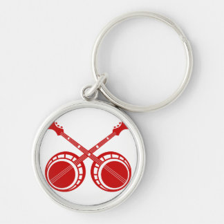 crossed banjos red Silver-Colored round keychain