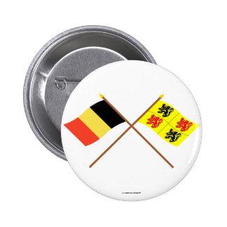 Crossed Belgium and Hainaut Flags Pin