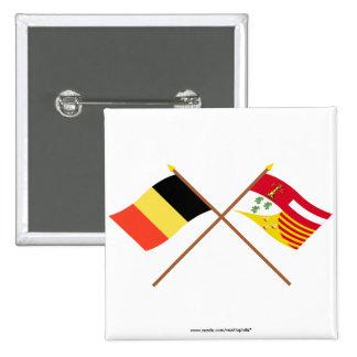 Crossed Belgium and Liège Flags Pin