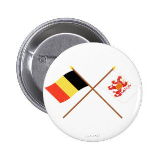 Crossed Belgium and Limbourg Flags 2 Inch Round Button