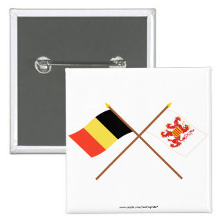 Crossed Belgium and Limbourg Flags Button