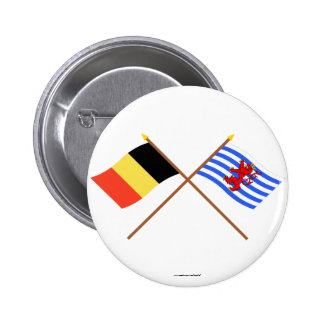 Crossed Belgium and Luxembourg Flags (de facto) Pins
