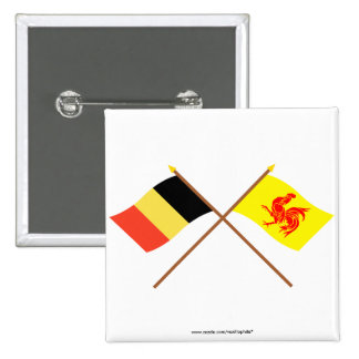 Crossed Belgium and Walloon Region Flags 2 Inch Square Button