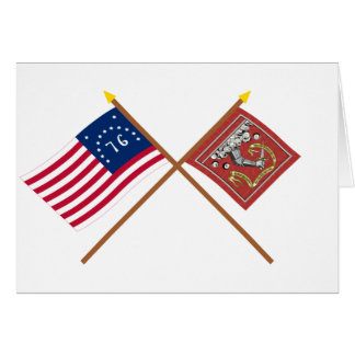 Crossed Bennington and Bedford Flags Card
