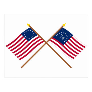 Crossed Betsy Ross and Bennington Flags Postcard