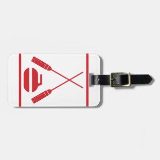 Crossed Brooms Curling Retro Bag Tag