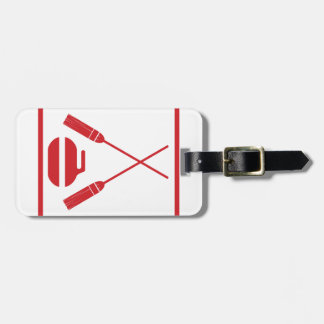 Crossed Brooms Curling Retro Tag For Bags