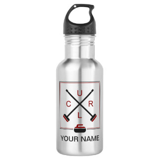 Crossed Brooms Curling Water Bottle - Personalized