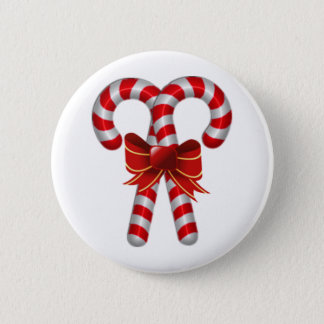 Crossed Candy Canes 2 Inch Round Button