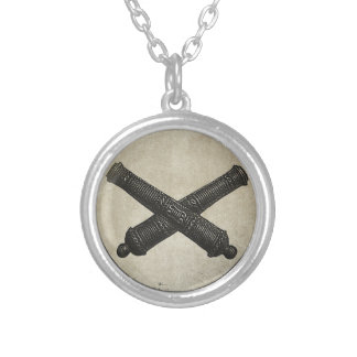 Crossed Cannon Silver Plated Necklace