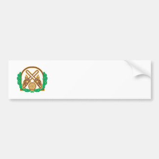 Crossed Chainsaw Timber Wood Leaf Bumper Sticker
