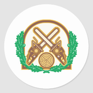 Crossed Chainsaw Timber Wood Leaf Classic Round Sticker
