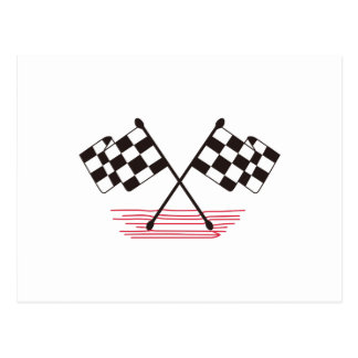 Crossed Checkered Flags Postcard