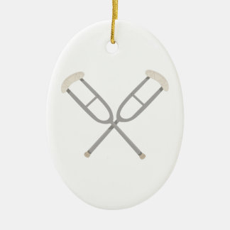 Crossed Crutches Ceramic Ornament