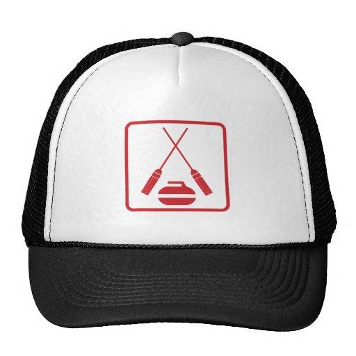Crossed curling brooms truckers cap trucker hats