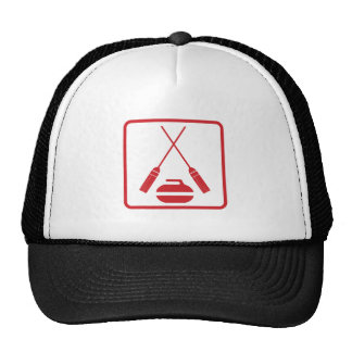 Crossed curling brooms truckers cap trucker hat