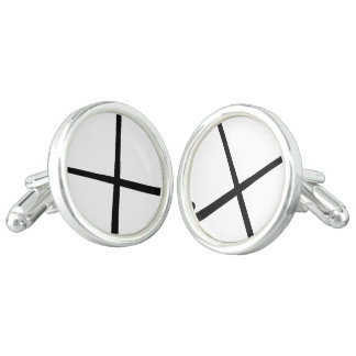 Crossed Field Hockey Sticks in Silhouette Cufflinks