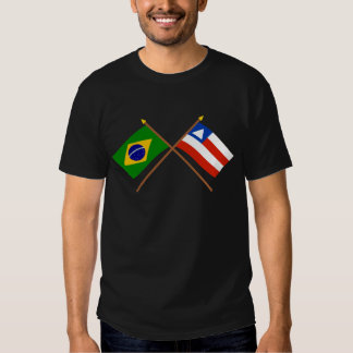 Crossed Flags of Brazil and Bahia T Shirt