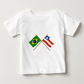 Crossed Flags of Brazil and Bahia T-shirts