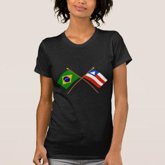 Crossed Flags of Brazil and Bahia Tshirts