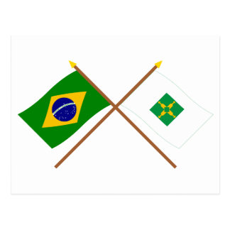 Crossed Flags of Brazil and Distrito Federal Post Cards