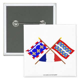 Crossed flags of Centre and Cher Pinback Buttons
