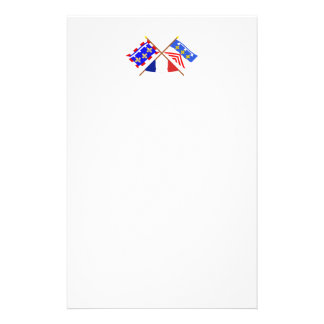 Crossed flags of Centre and Eure-et-Loir Stationery Paper