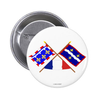 Crossed flags of Centre and Indre Pinback Button