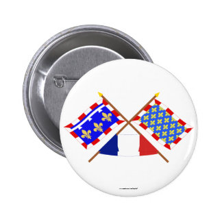 Crossed flags of Centre and Indre-et-Loire Pin