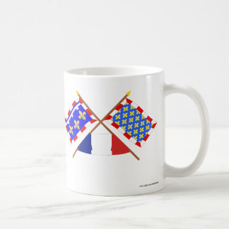Crossed flags of Centre and Indre-et-Loire Coffee Mugs