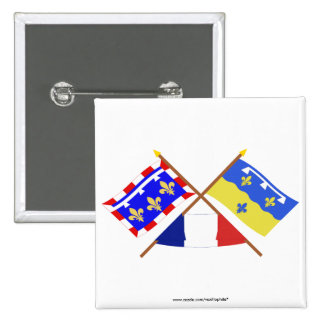 Crossed flags of Centre and Loir-et-Cher Buttons