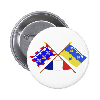 Crossed flags of Centre and Loir-et-Cher Button