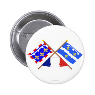 Crossed flags of Centre and Loiret Button