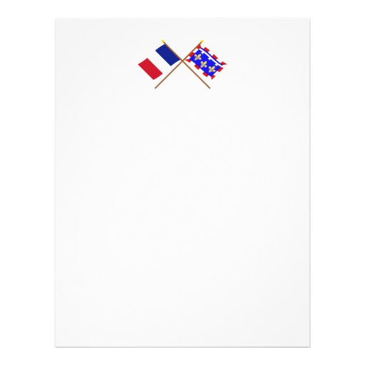 Crossed flags of France and Centre Customized Letterhead