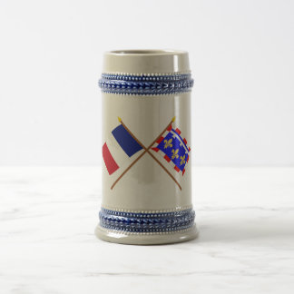 Crossed flags of France and Centre Beer Steins