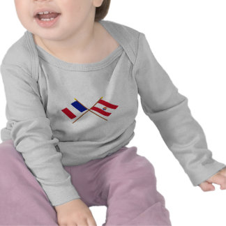 Crossed flags of France and French Polynesia T Shirts