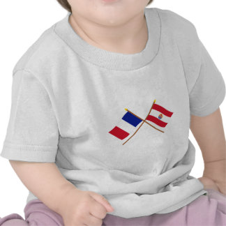 Crossed flags of France and French Polynesia Tees