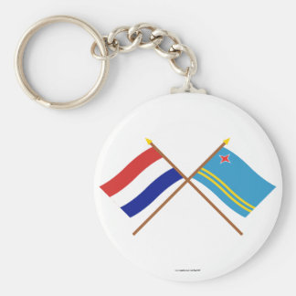 Crossed flags of Holland and Aruba Keychain