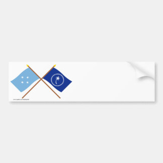 Crossed Flags of Micronesia and Chuuk Bumper Sticker