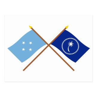 Crossed Flags of Micronesia and Chuuk Postcard